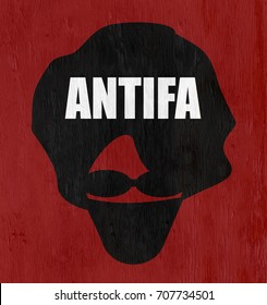 antifa anarchist on wood grain texture