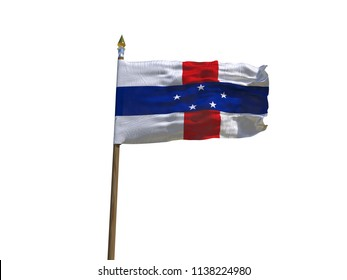 Antilles flag Isolated Silk waving flag of Antilles islands made transparent fabric with wooden flagpole golden spear on white background isolate real photo Flags of world countries 3d illustration