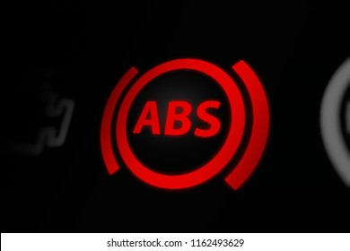 Anti-lock Braking System (ABS) Warning Light on Car Dashboard. 3D illustration.