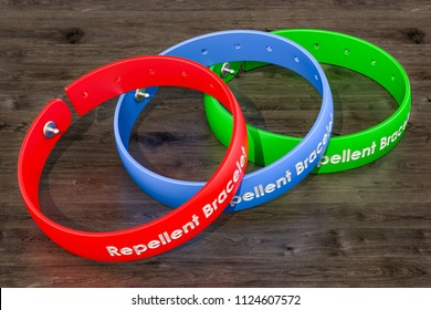 Anti-mosquito bracelets, insect repellent products. 3D rendering