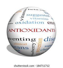 Antioxidants 3D sphere Word Cloud Concept with great terms such as foods, prevent, diseases and more.