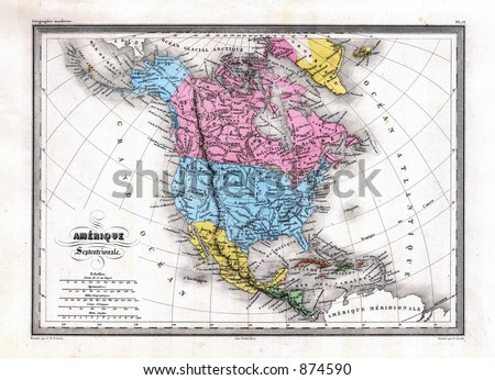 Royalty Free Stock Illustration Of Antique 1870 Map North America