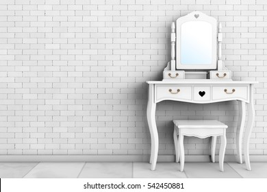 Antique Bedroom Vanity Table with Stool and Mirror in front of brick wall. 3d Rendering