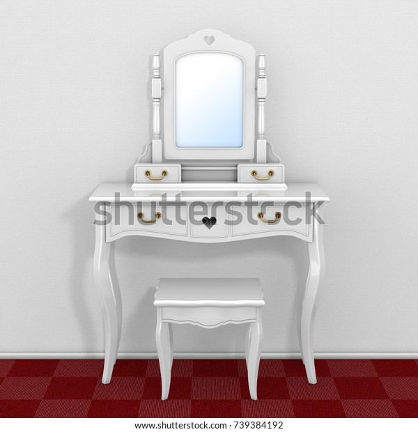 Antique Bedroom Vanity Table Stool Mirror | Vintage, Objects ...