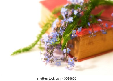 antique book with some flowers (forget-me-not), soft focused, very small dept of field, focal point is on flowers, with copy space