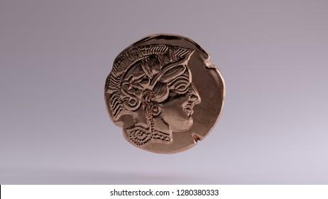 Antique Bronze Athena Coin 3d illustration
