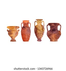 Antique ceramics, silhouettes of amphorae, pitchers and bowls, isolated watercolor elements