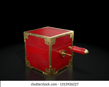 An antique closed jack-in-the-box mad of red wood and gold trimmings on a dark studio background under a spotlight - 3D render