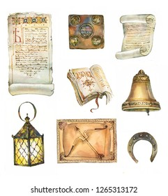 Antique collection: scrolls, books, bell, lantern, horseshoe. Watercolor illustration
