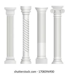 Antique column. Historical greek pillars ancient building architecture art sculpture realistic pictures