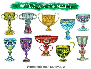 Antique cups and goblets isolated on white. Hand drawn doodle graphic illustration with fantasy and mystic objects