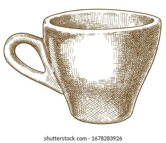 Antique engraving drawing illustration of coffee cup isolated on white background