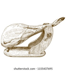 antique engraving illustration of jamon serrano isolated on white background