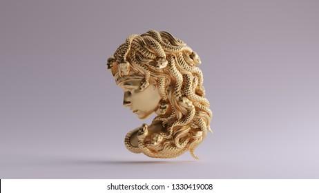 Antique Gold Medusa Bas Relief 3d