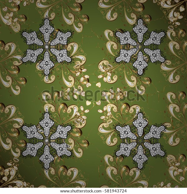 Antique golden repeatable wallpaper. Damask repeating background. Golden green floral ornament in baroque style. Golden element on green background.