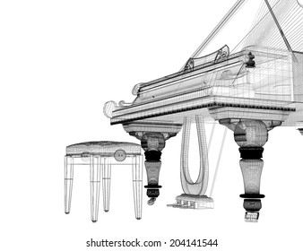 Antique grand  Piano with path, 3D model body structure, wire model