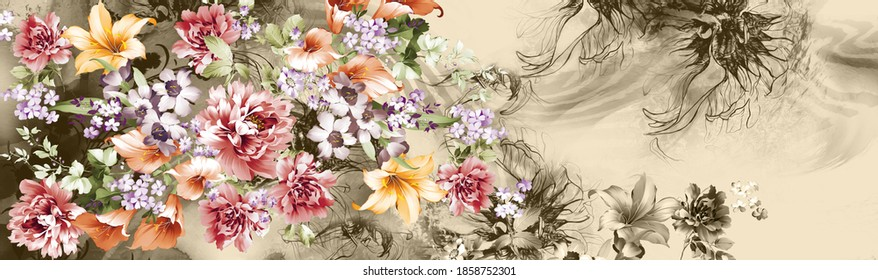 Antique illustration. The amazing fabric abstract background, Halftone flowers bouquet, Floral illustration, abstract animal skin texture background for greeting card, textile and digital print.
