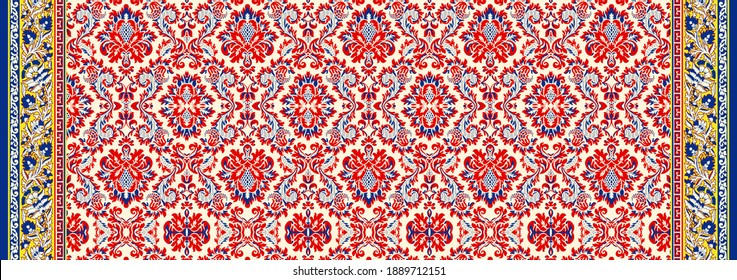 Antique illustration. Damask floral paisley pattern. Royal wallpaper. Flowers on a background for wall paper, greeting card, textile and digital print - Illustration