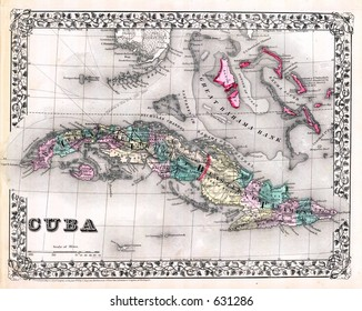 Antique Map of Cuba and Bahamas in 1870