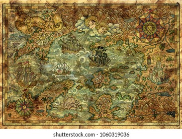 Antique map of fantasy lands with pirate ships, mythological creatures, castles, compass, treasure islands. Decorative antique nautical chart, collage with hand drawn illustration