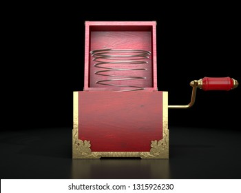 An antique open jack-in-the-box mad of red wood and gold trimmings with an unattached spring  - 3D render