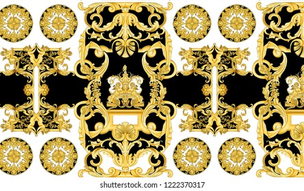 Antique Period Baroque Gold Black White Background Pattern