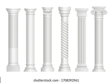 Antique pillars. Greek historical rome classic columns realistic illustrations