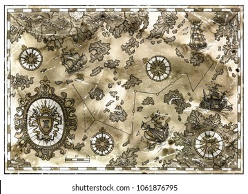Antique pirate map with treasure islands, baroque banner, old ships with texture. Decorative antique nautical chart, collage with hand drawn illustration