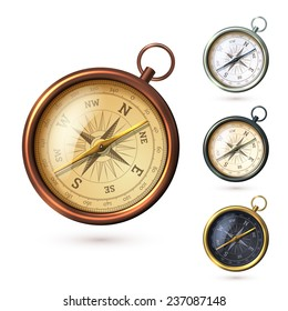 Antique retro style metal  compass set isolated on white background  illustration