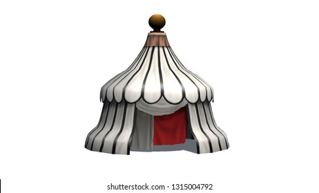 Antique round medieval tent - isolated on white background - 3D illustration