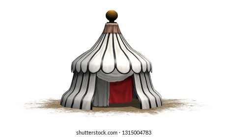 Antique round medieval tent on a sand area - isolated on white background - 3D illustration