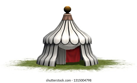 Antique round medieval tent on a grass area - isolated on white background - 3D illustration
