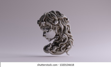 Antique Silver Medusa Bas Relief 3d illustration 3d render