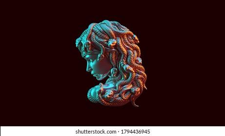 Antique Silver Medusa with Red Orange and Blue Green Moody 80s lighting 3d illustration 3d render