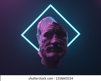antique statue in neon light, 3d illustration