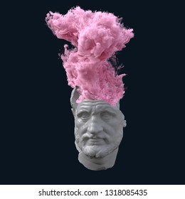 antique statue with overheated brain, 3d illustration