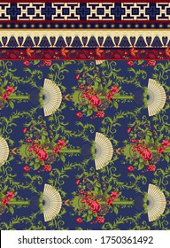 Antique victorian chinese wallpaper, colorful flowers and stylish ornament pattern border with geometric background design for textile and digital print - Illustration
