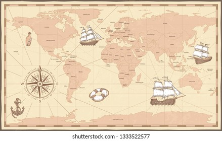 Antique world map. Vintage compass and retro ship on ancient marine map. Old countries boundaries earth geography antiques navigation cartography west coast and north america  illustration