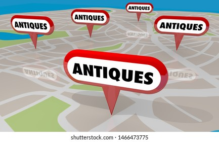 Antiques Stores Locations Map Pins Shopping Options 3d Illustration