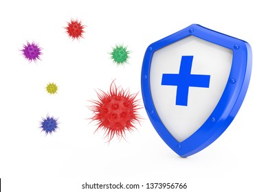 Antiviral Concept. Antibacterial or Anti Virus Shield Protected from Virus or Bacteria on a white background 3d Rendering