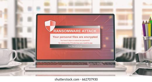 Antivirus, security concept. Ransomware virus alert on a computer laptop screen, blur office background. 3d illustration