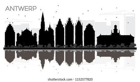 Antwerp Belgium City skyline black and white silhouette with Reflections. Simple flat concept for tourism presentation, banner, placard or web site. Antwerp Cityscape with landmarks.