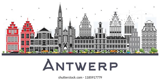 Antwerp Belgium City Skyline with Gray Buildings Isolated on White. Business Travel and Tourism Concept with Historic Architecture. Antwerp Cityscape with Landmarks.