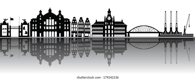 antwerp skyline with station and zoo