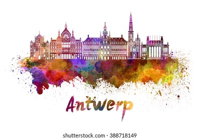 Antwerp skyline in watercolor splatters with clipping path