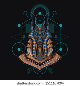 anubis head egyptian god illustration