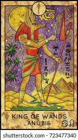 Anubis. King of wands. Fantasy Creatures Tarot full deck. Minor arcana. Hand drawn graphic illustration, engraved colorful painting with occult symbols