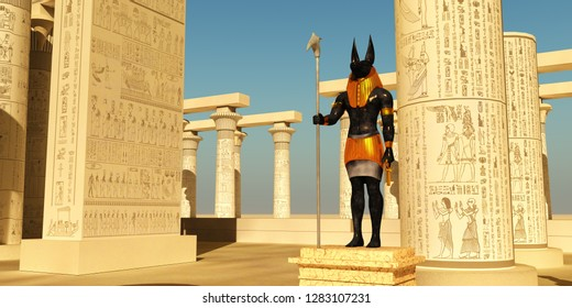 Anubis Statue in Temple 3D illustration - Anubis in ancient Egyptian mythology was the god of the afterlife and guardian of the gates to the Underworld.