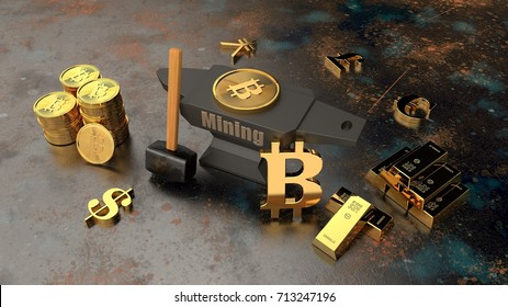 the anvil and hammer on the metal background and lots of gold ingots, coins, cryptocurrency. Sign of bitcoin The idea of mining the Internet of money. A symbol of stability and prosperity 3D rendering