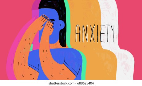 Anxiety. The age of anxiety. Illustration. Conceptual illustration about anxiety, using vivid colors and beautiful graphic style.